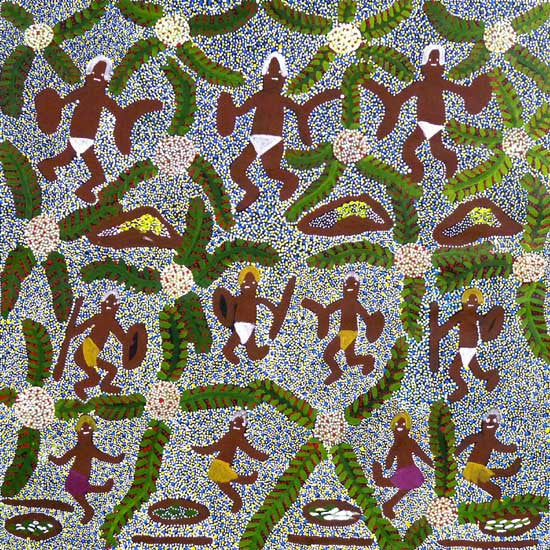 Aboriginal People Collecting Bush Tucker by Katie Kemarre (SOLD)
