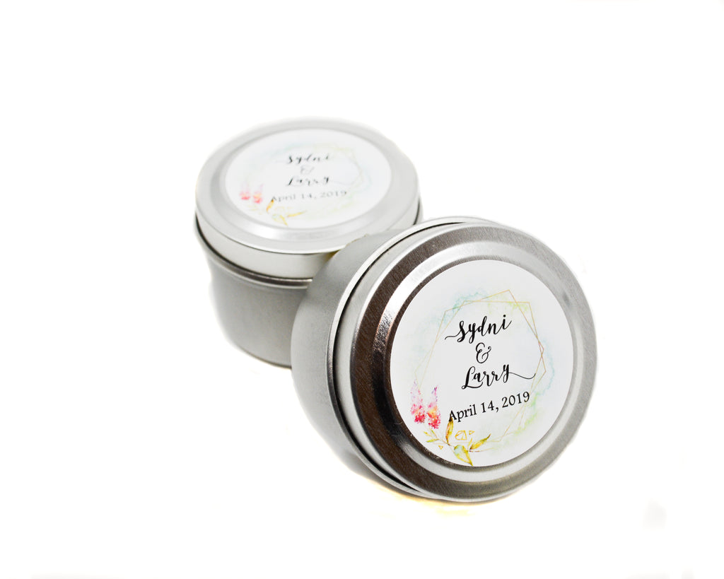 Wedding/Party Favors -  150 Two Ounces Travel Silver Tin Soy Candles Pattern C