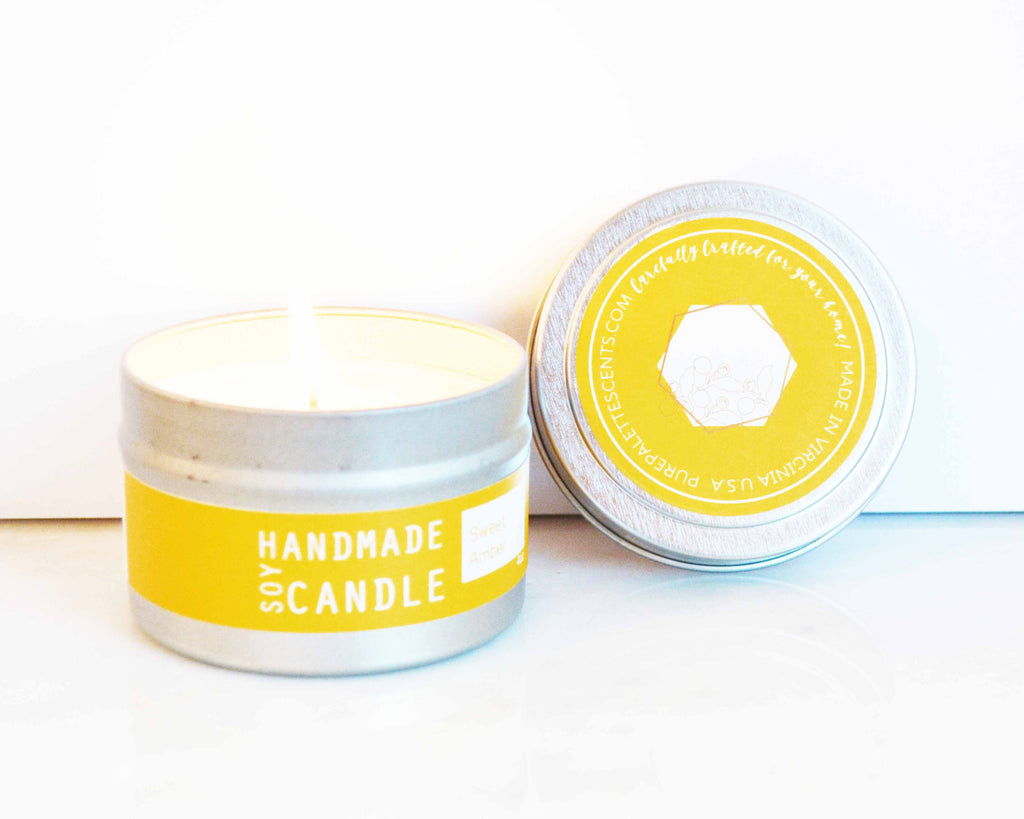 Sweet Amber Travel Tin Soy Candles