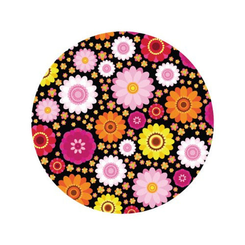 GROOVY FLORAL ON BLACK Decorative Bathroom Sink Stopper Toppers