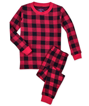 Sara's Prints Red Black Buffalo Check Kids Christmas Winter Pajamas 2 Pc Set