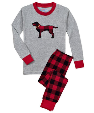 Sara's Prints Red Black Buffalo Check Boys Dog Christmas Winter Pajamas 2 Pc Set