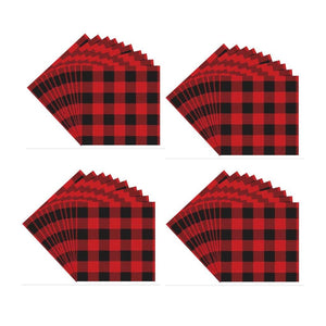 Harman Red Black Buffalo Check Christmas Paper Napkins 40 Ct