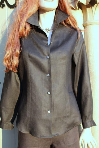 long sleeved shaped ladies linen blouse in black
