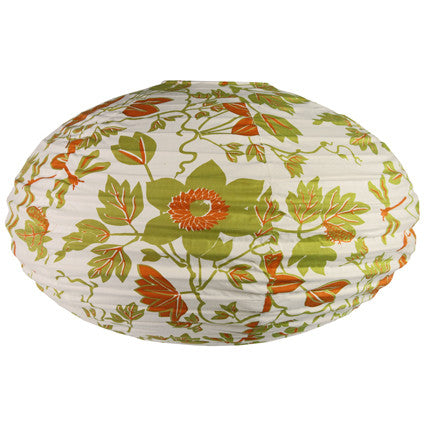 Cloth Oval Lantern - Green/Orange