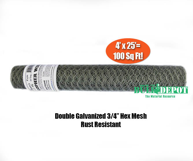 Digger's RootGuardTM 4 Foot x 25 Foot (100 Sq Ft) Gopher Wire Roll