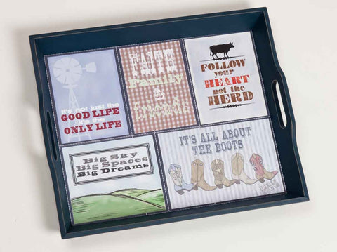 "#B5210231 - 18X15""LIFE'S COUNTRY PATCHWORK TRAY  -  4/CASE"