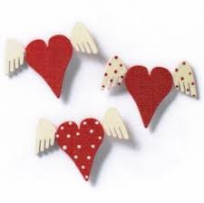 #D17480 - S/3 HEART W/ WINGS MAGNETS  -  96/CASE
