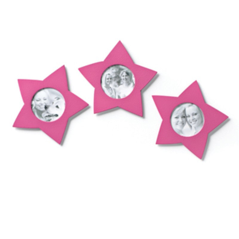 #D17495 - S/3 PINK STAR PHOTO MAGNET  -  33/CASE