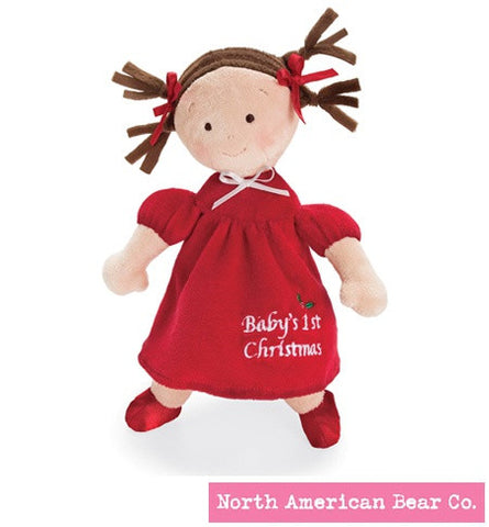 "#NAB6164 - 10""BABY'S 1ST XMAS PRINCESS DOLL-BRUNETTE  -  72/CASE"