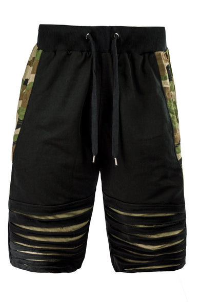 Mens SLIM Fit french terry drawstring SHORTS RIPPED