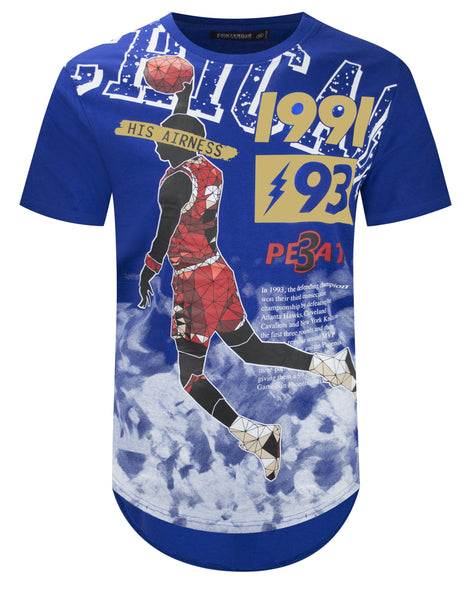 Mens Hipster Hip Hop MJ His Airness  Longline Crewneck Graphic Top Shirts