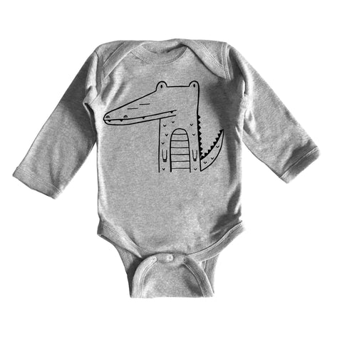 Arthur the Alligator Long Sleeve Onesie by The Wild - thewildkidsapparel.com