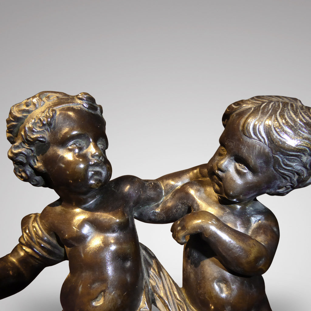 Antique Bronze Sculpture of Cupid & Putto - Front View one