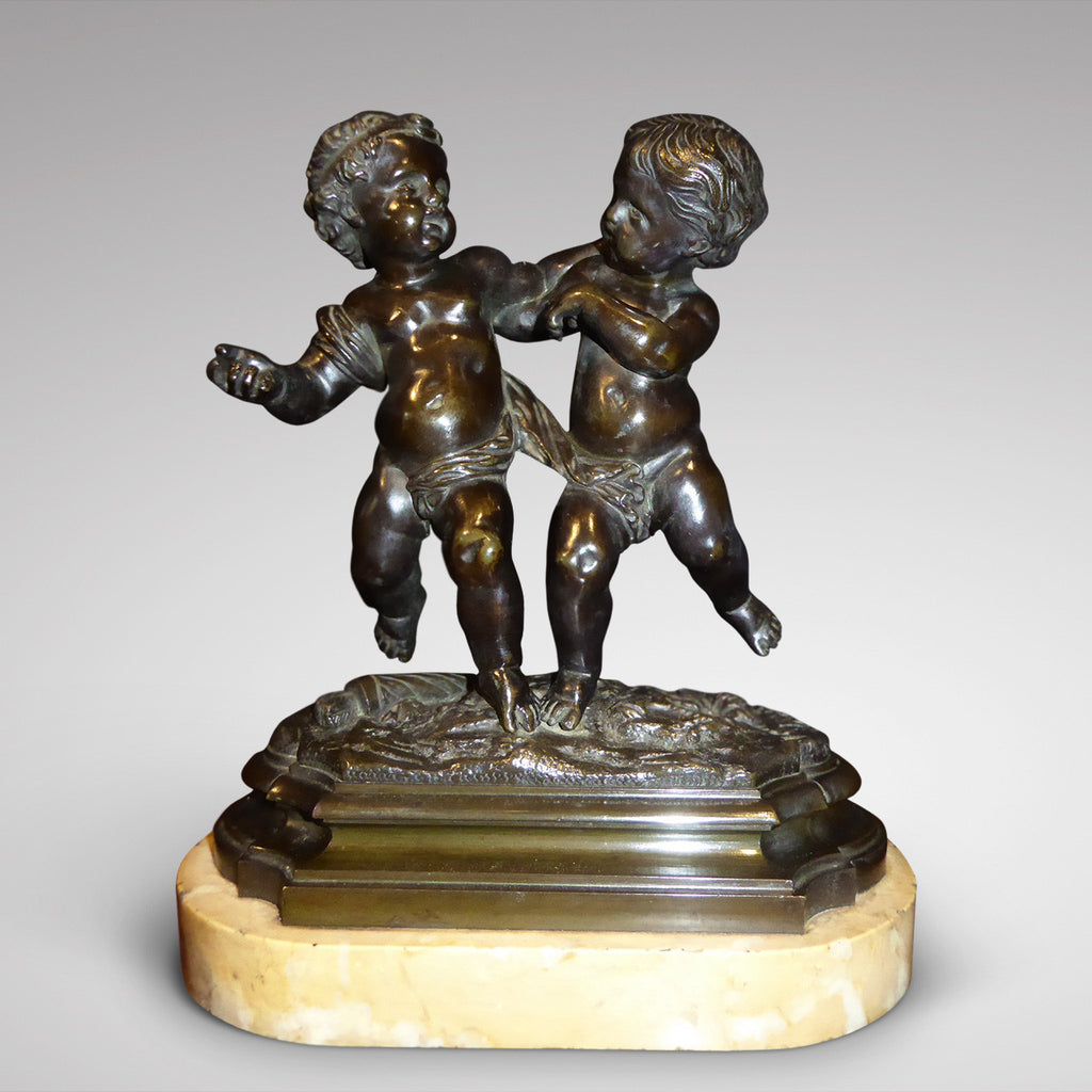 Antique Bronze Sculpture of  Cupid & Putto - Front View Two