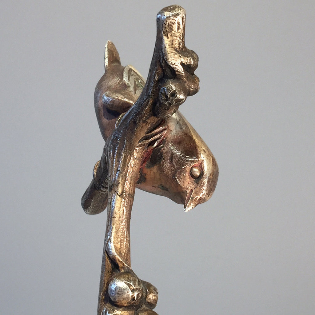 Art Deco Silvered Bronze Wren - Top View -1