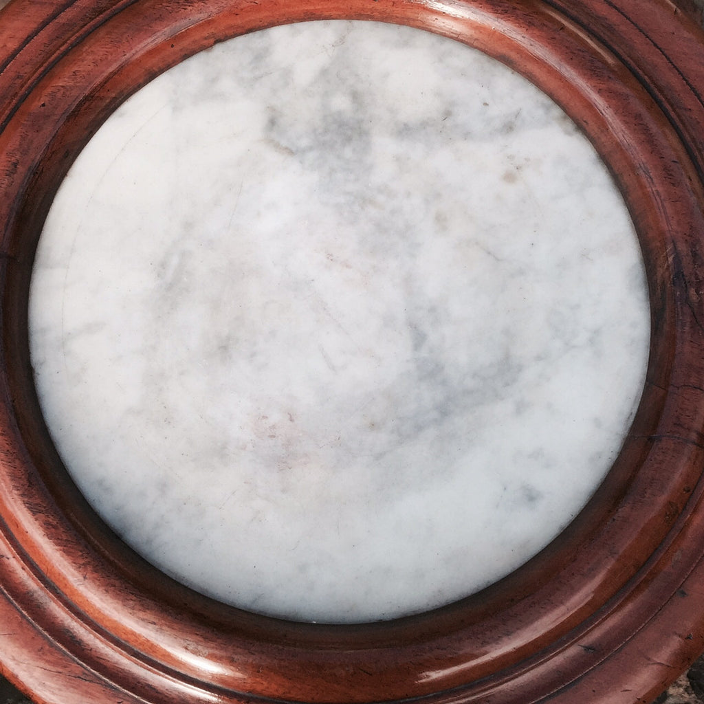 Victorian Mahogany Cylindrical Pot Cupboard- View of inset marble top-4