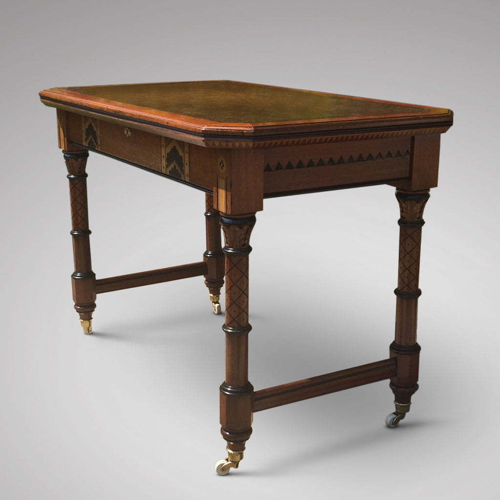 19th Century Oak Arts & Crafts Writing Table - Side view
