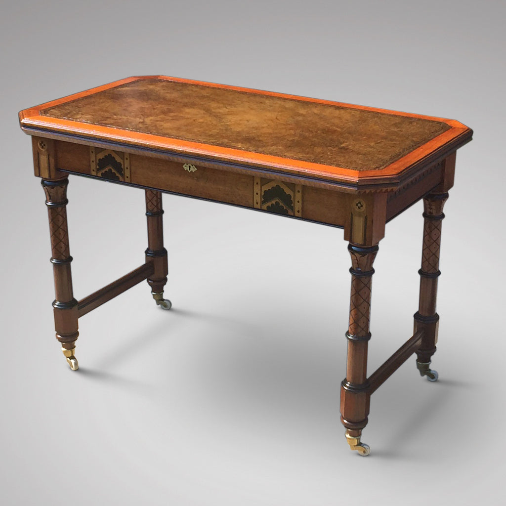 19th Century Oak Arts & Crafts Writing Table - Front view 1