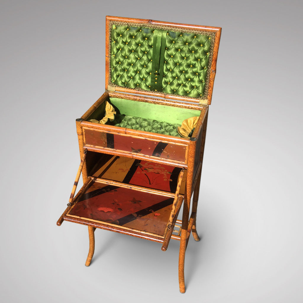 Victorian Lacquered Bamboo Sewing Table - Hobson May Collection - 3