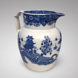 Large 19th Century Pearlware Blue & White Jug -Front & Side View - 2