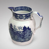 Large 19th Century Pearlware Blue & White Jug - Side & Handle View- 1