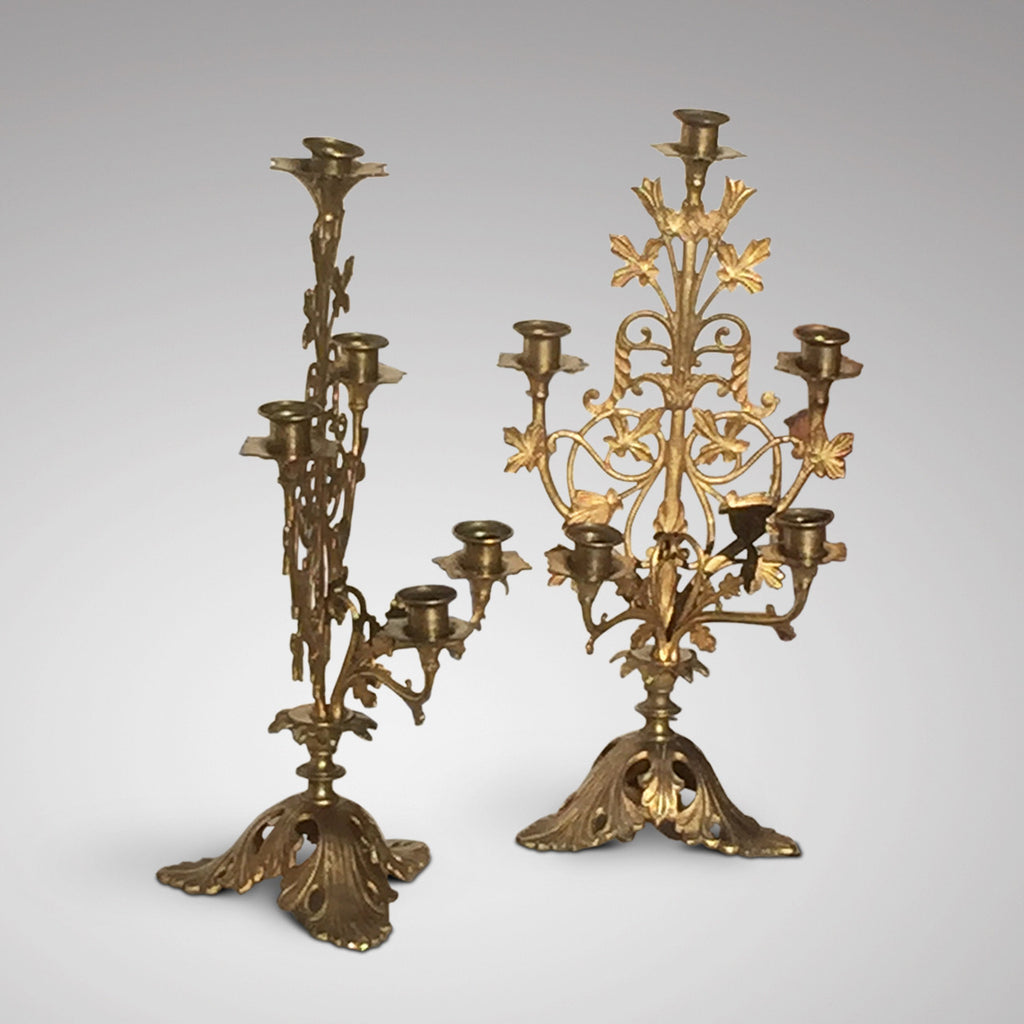 Pair of 19th Century Gilt Candelabra - Front & Side View - 2