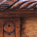 Small Arts & Crafts Oak Chest of Drawers - Carving Detail - 7