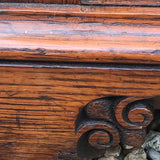 Small Arts & Crafts Oak Chest of Drawers - Detail of Bracket Feet - 9