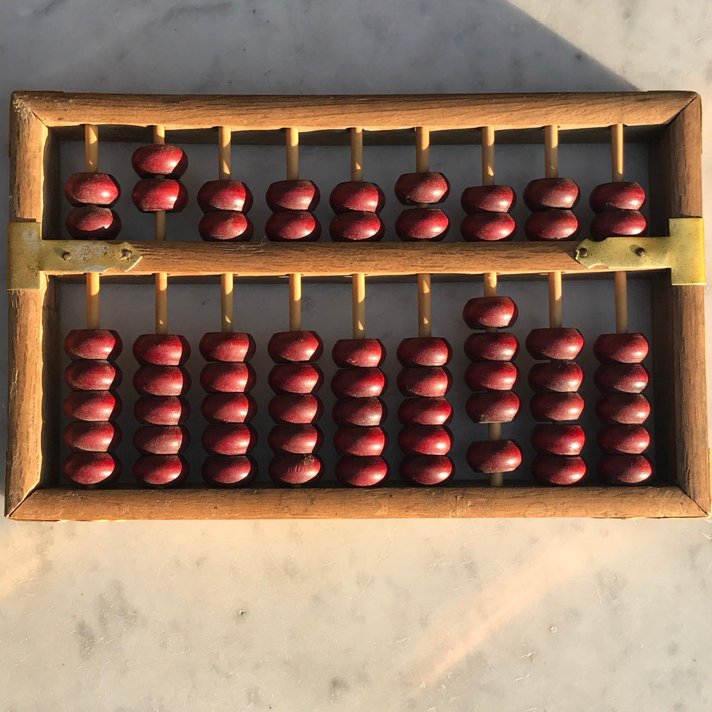 Chinese Abacus in Red Lacquered & Painted Box - Abacus View - 6