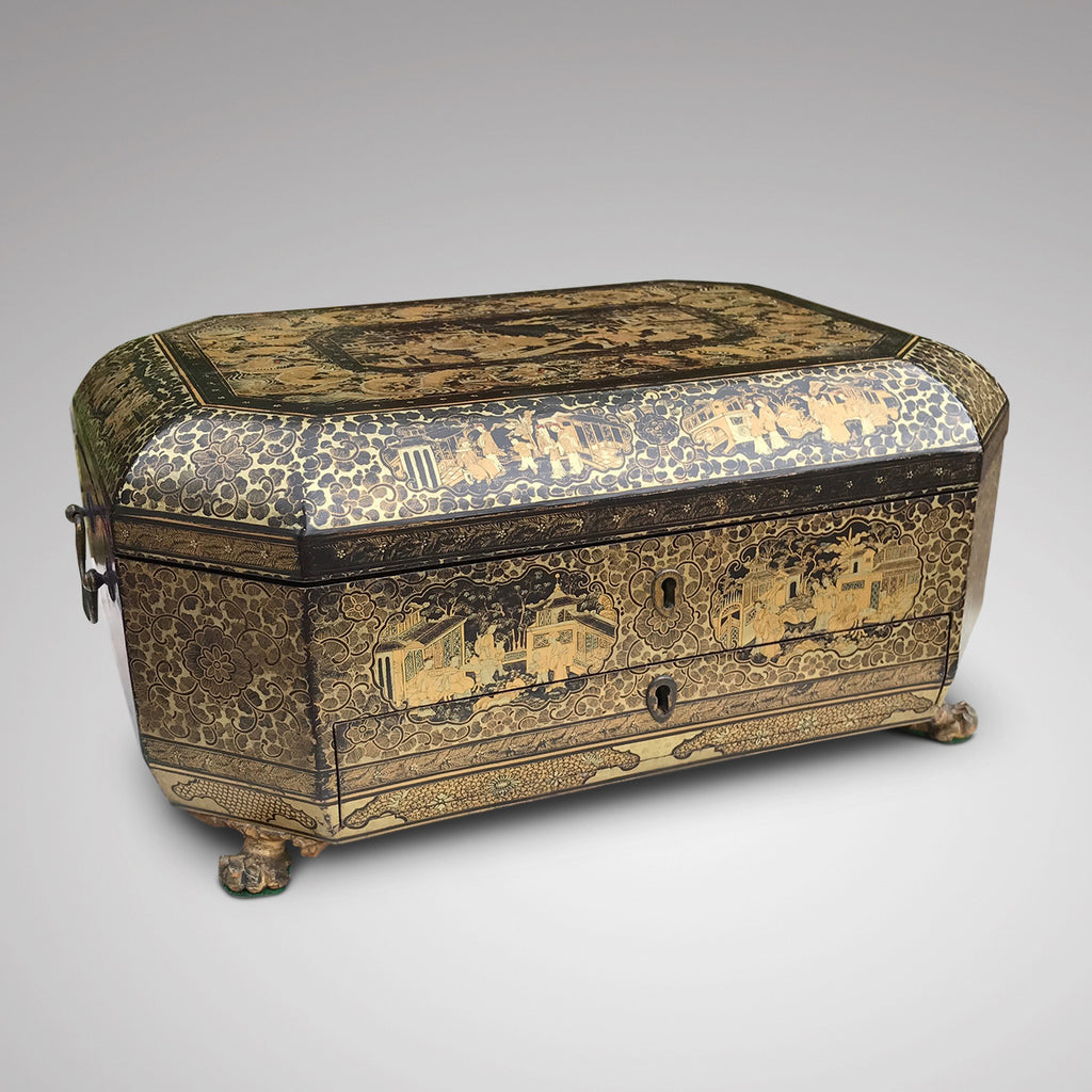 19th Century Chinoiserie Lacquered Sewing Chest - Main Front View - 1