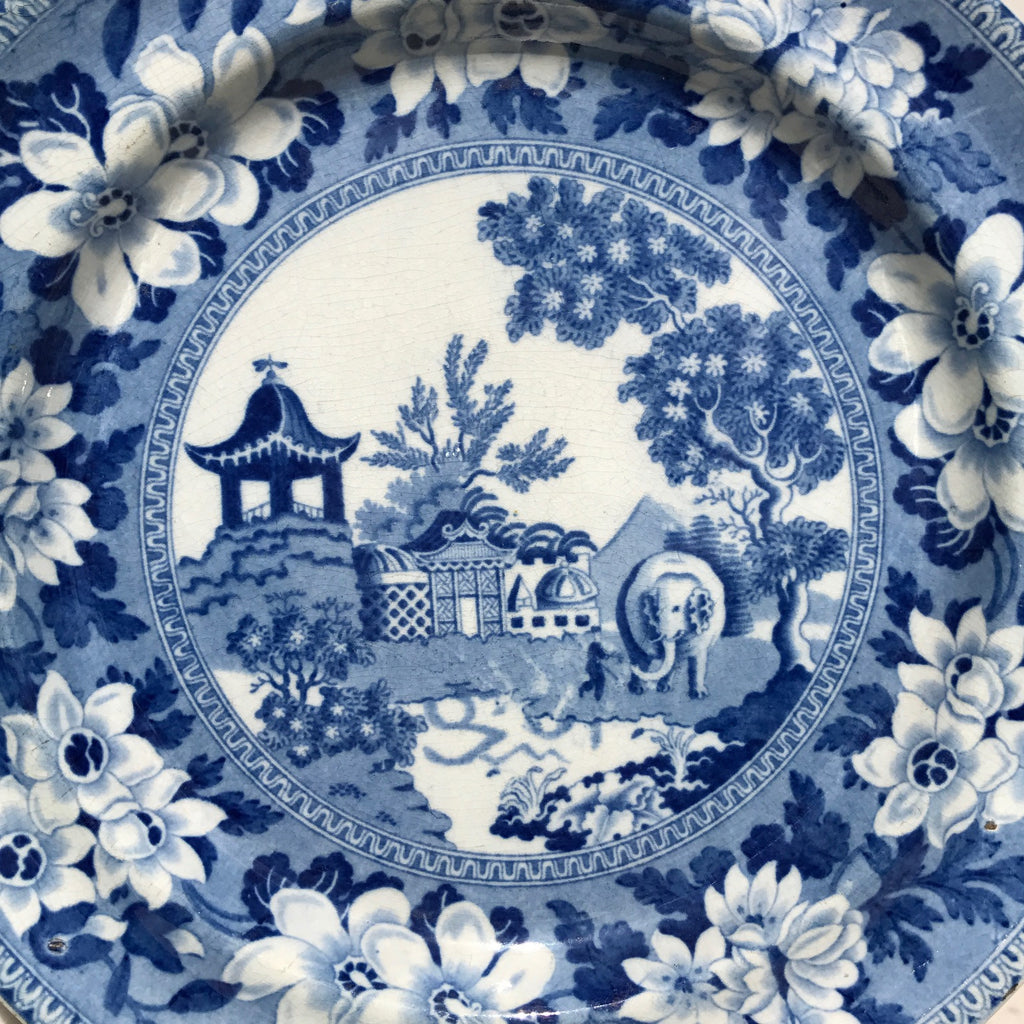Pair of 19th Century Blue & White Plates - Centre Detail View - 2