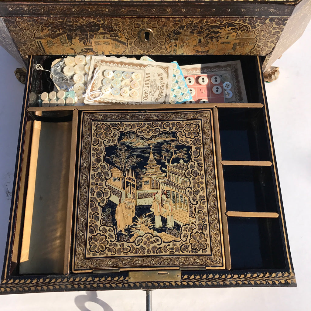 19th Century Chinoiserie Lacquered Sewing Chest - Inside Drawer View - 14