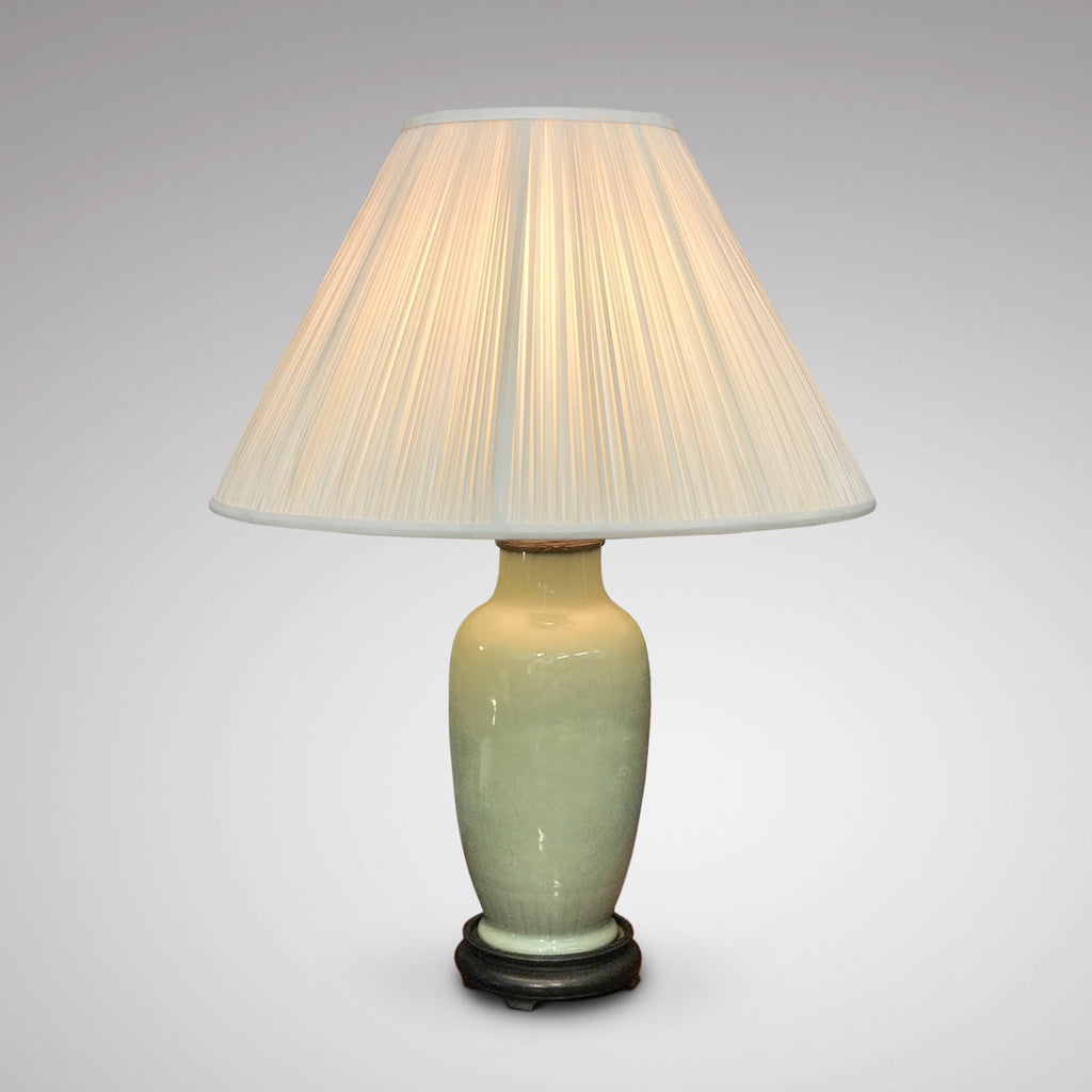 19th Century Chinese Celadon Table Lamp - Main View Illuminated - 1