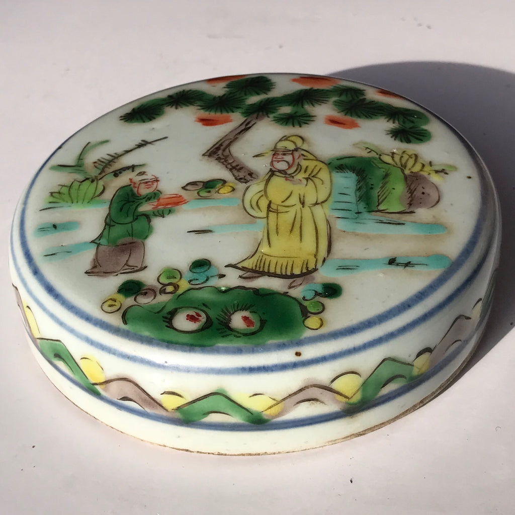 19th Century Chinese Famille Verte Ginger Jar - View of Lid - 6
