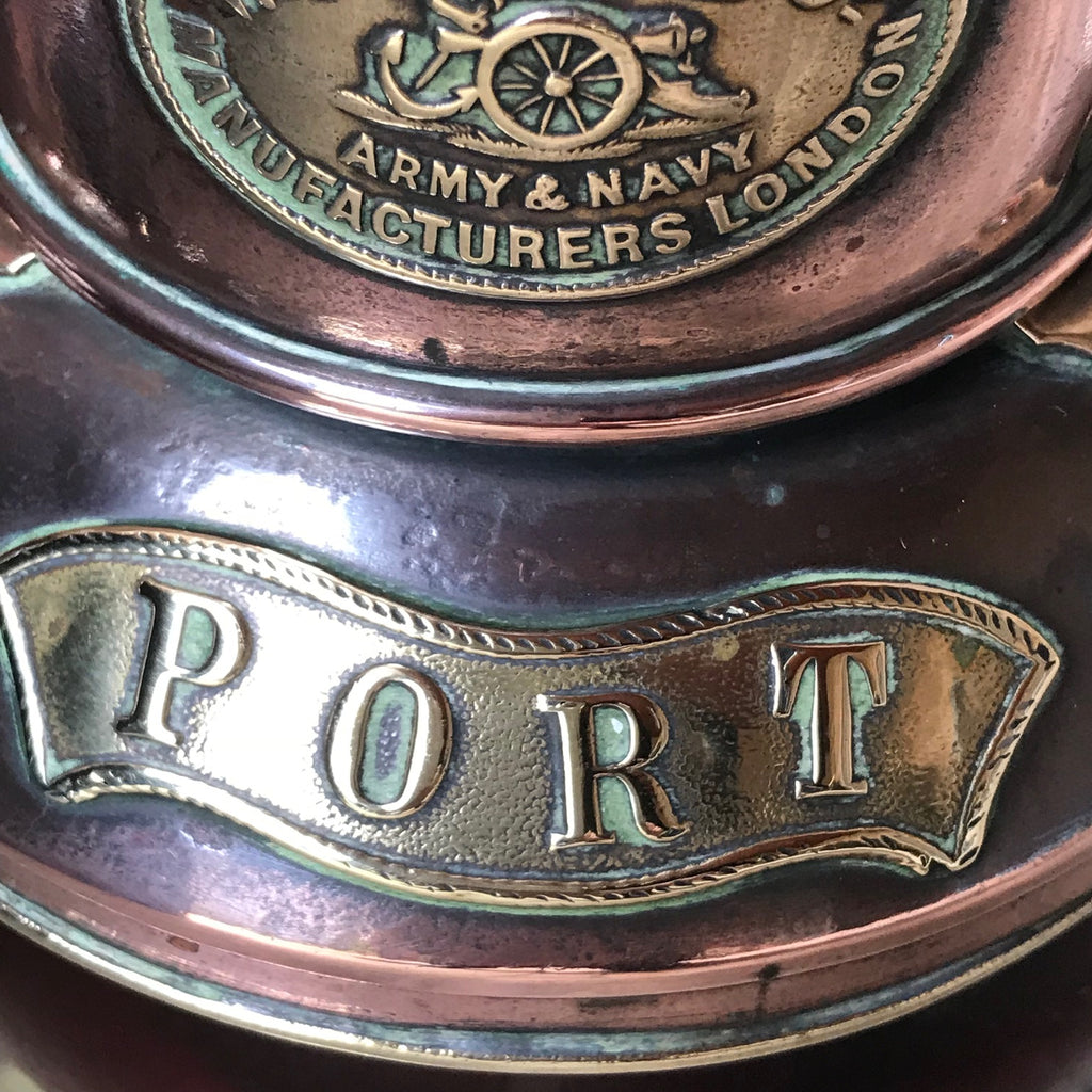 Pair of 19th Century Copper & Brass Ships Lanterns - Detail of Port Plaque - 4