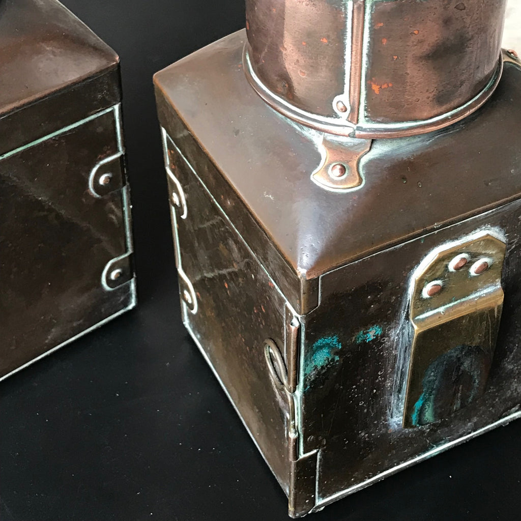 Pair of 19th Century Copper & Brass Ships Lanterns - Back Details - 5