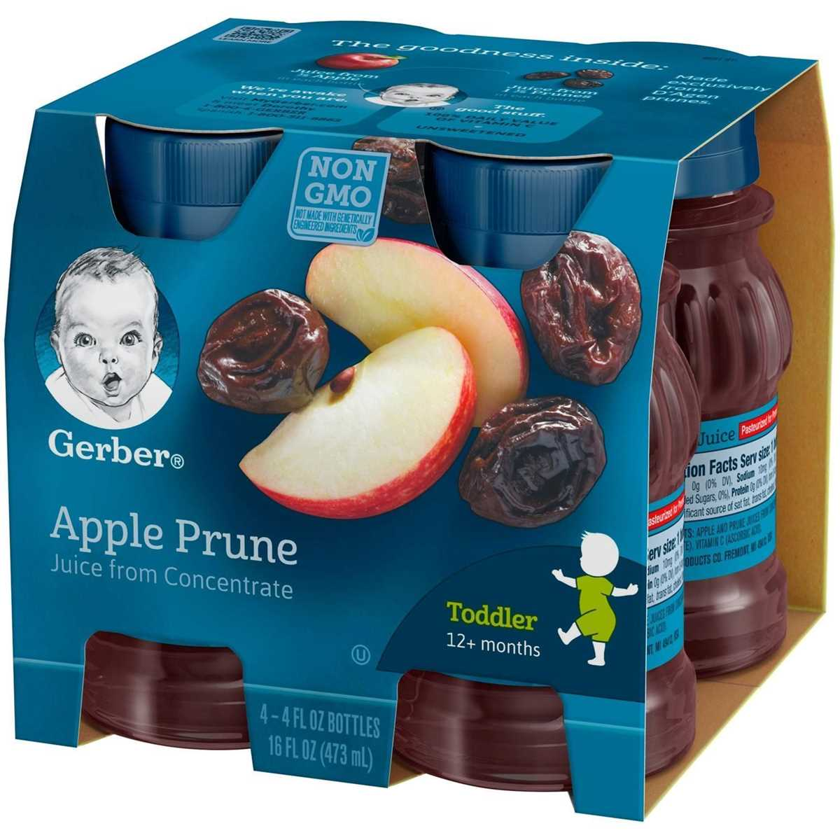 Gerber Juice 4Pk 473ml (16oz) - Apple Prune Juice