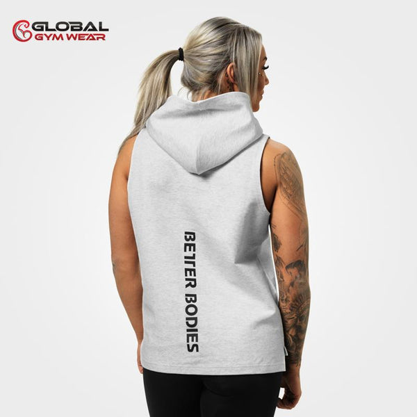 Better Bodies Kensington Sleeveless Hood White Melange back