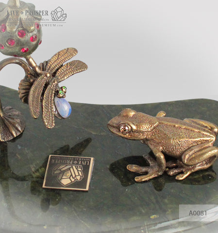 Bronze frog , Dragonfly and Strawberry figures with Demantoids and Moonstone inserts