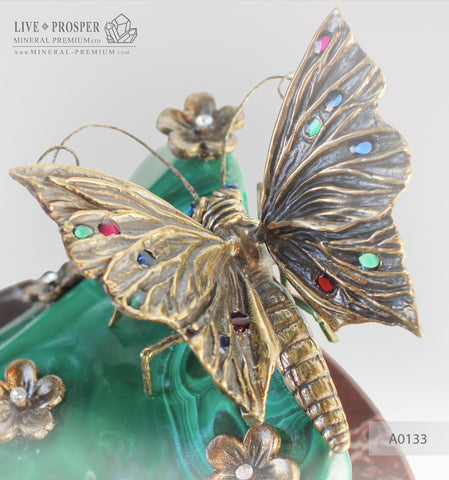 Bronze butterfly and flowers with gems inserts on malachite and marvel plate