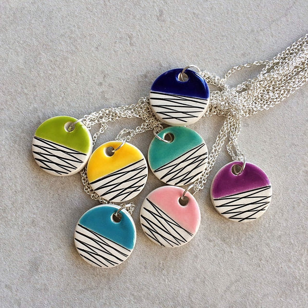 colorful minimalist ceramic pendants on sterling silver chain