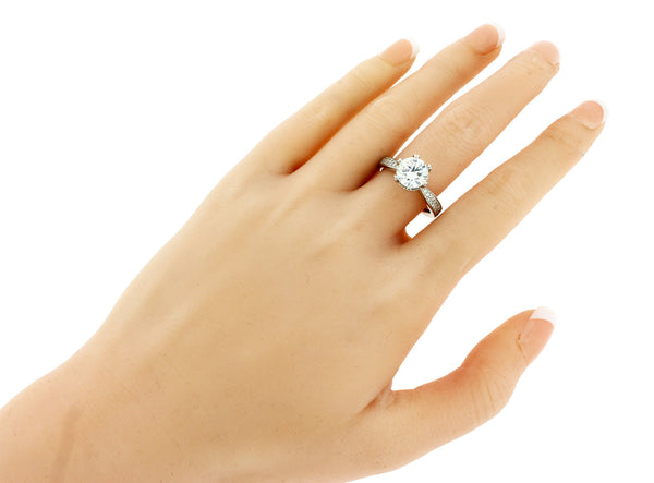 Ritani 1ct pave set diamond engagement ring in 18k fits 2ct round diamond