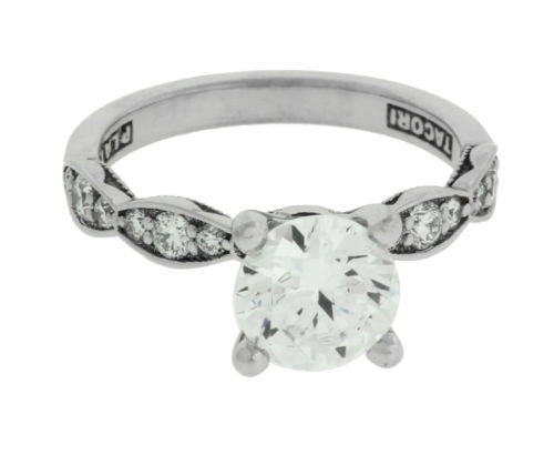Tacori 46-2RD65 Sculpted Crescent engagement ring in 18k holds .50 carat diamond