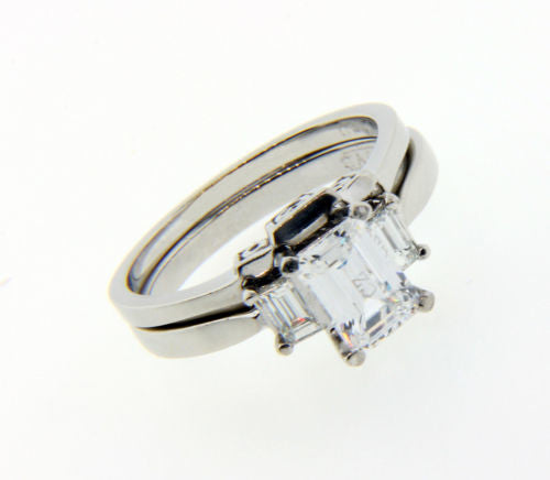 Tacori Diamond engagement set in Platinum fits 1 carat Emerald cut.
