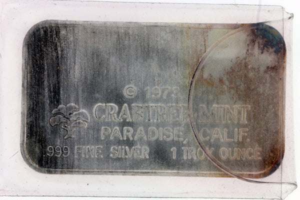 CRABTREE MINT 1973 1 TROY OZ SILVER BAR .999 PURE