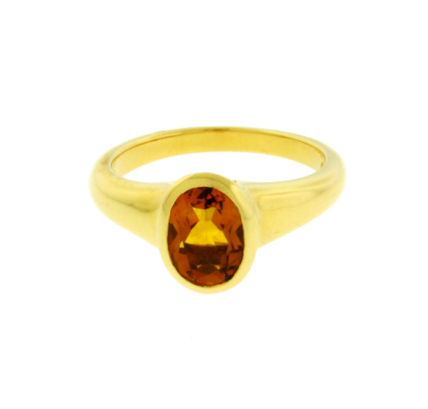 Bvlgari 18 karat yellow gold citrine ring size 5.5