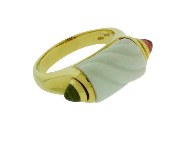 Bvlgari 18k yellow gold, white ceramic, peridot & pink tourmaline ring