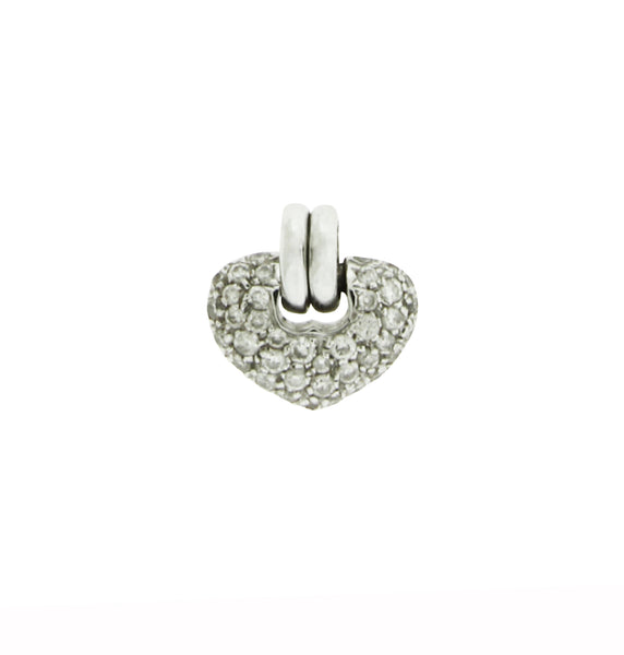 Chimento Cuori 18k white gold small diamond heart pendant necklace