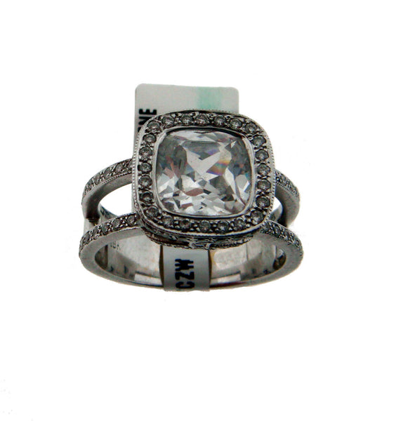 Leslie Green split shank cushion / radiant diamond engagement ring in 18k